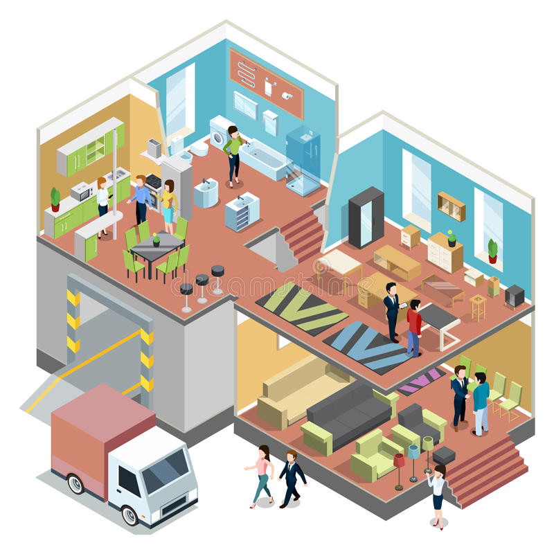 Shopping grande com interior da loja moderna da mobília Ilustrações isométricas do vetor ajustadas ilustração royalty free