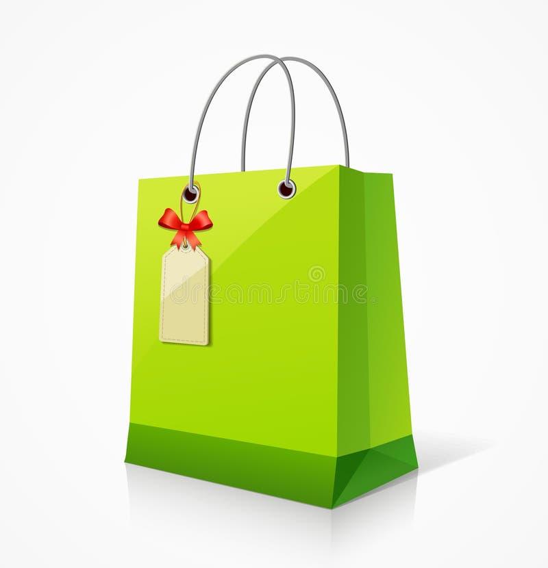 Download Shopping green paper bag stock illustration. Image of handle - 25809496