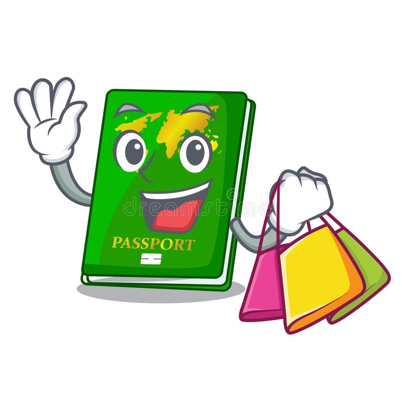 Shopping green passport in the cartoon shape. Vector illustration vector illustration