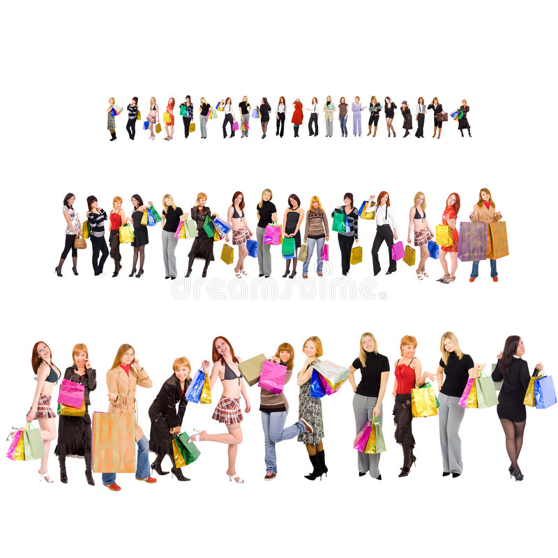Shopping group of people with colorful bags stock images
