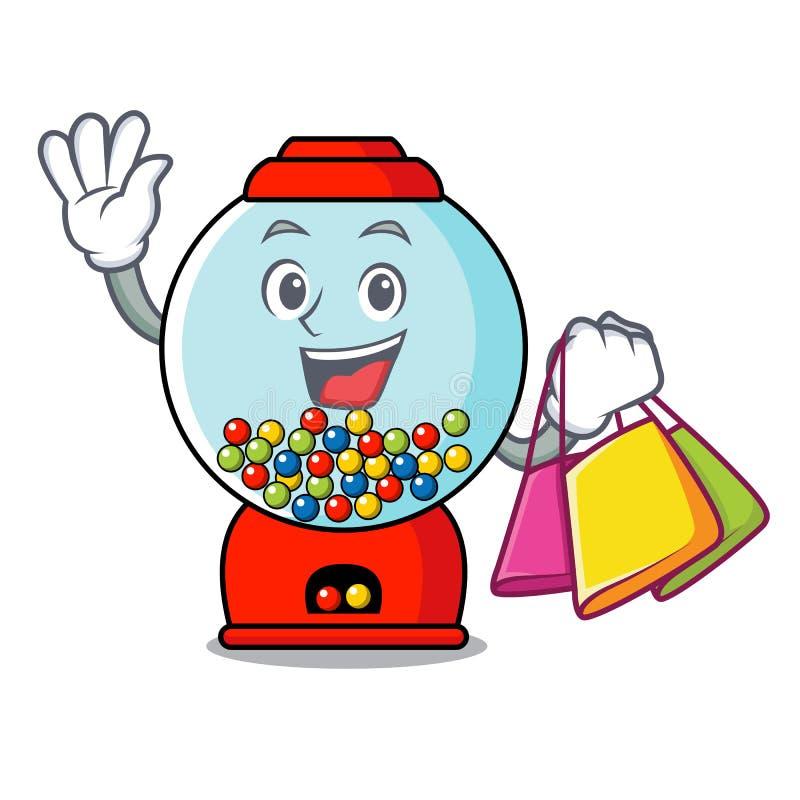 Shopping gumball machine character cartoon. Vector illustration vector illustration
