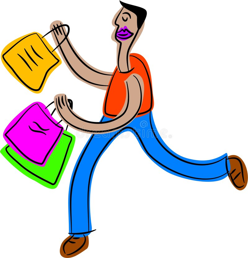 Shopping guy stock illustration