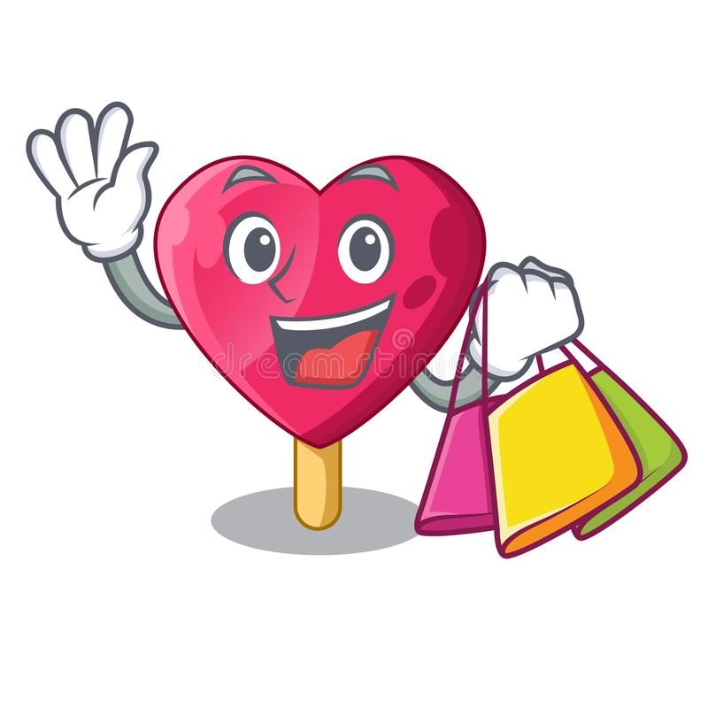 Shopping heart character ice cream on candy royalty free illustration