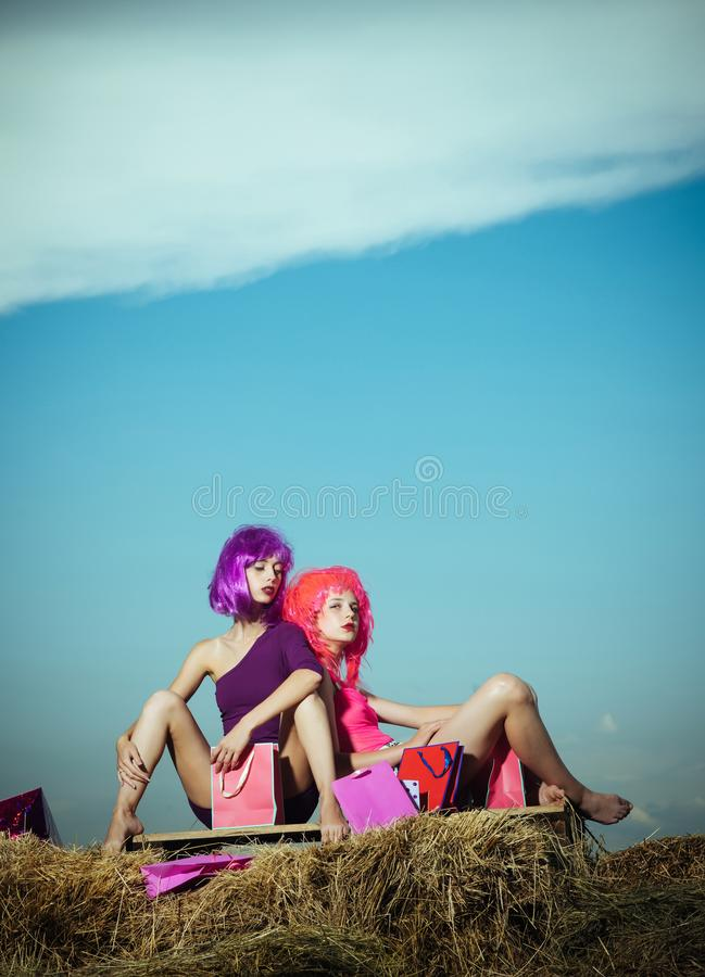 Shopping, holiday and hairdresser. stock images