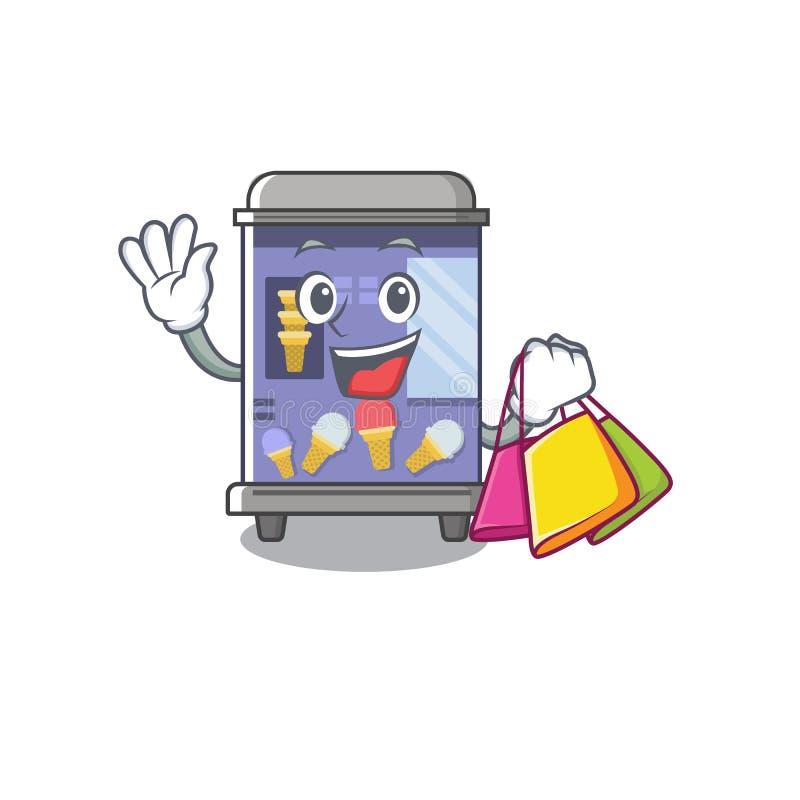 Shopping ice cream vending machine isolated the cartoon vector illustration