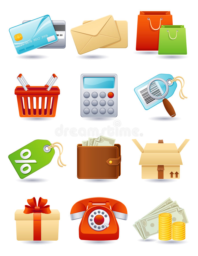 Shopping icon. Vector illustration - shopping icon set