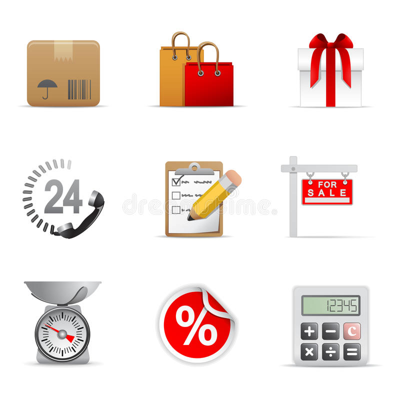 Download Shopping icons stock vector. Illustration of gift, phone - 12138550