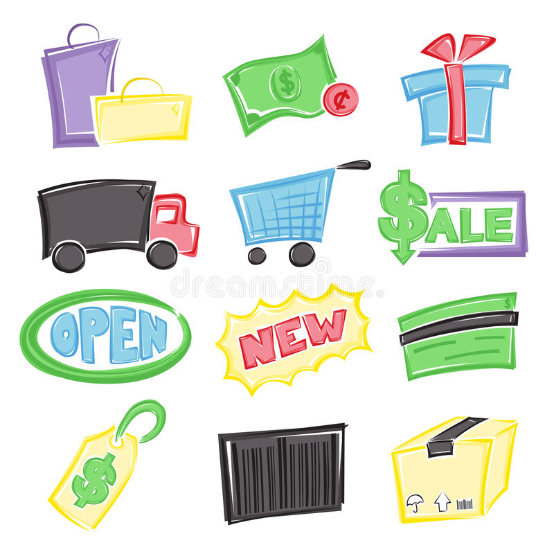 Download Shopping icons stock vector. Image of parcel, package - 21525893