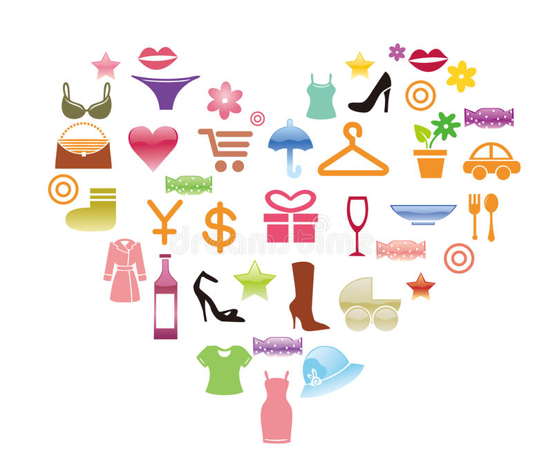 Download Shopping icons stock vector. Image of earth, drinks, green - 25221510