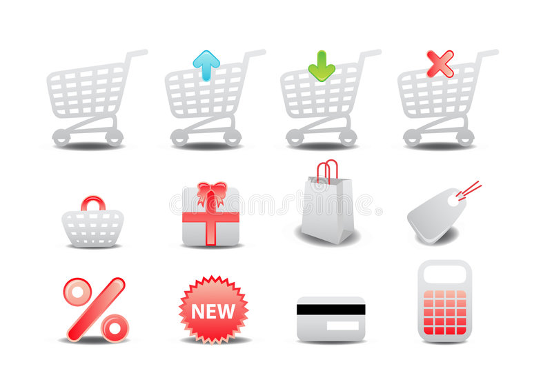 Shopping icons. Vector illustration of shopping icons. Suitable for e-commerce, webshop and other network sales royalty free illustration