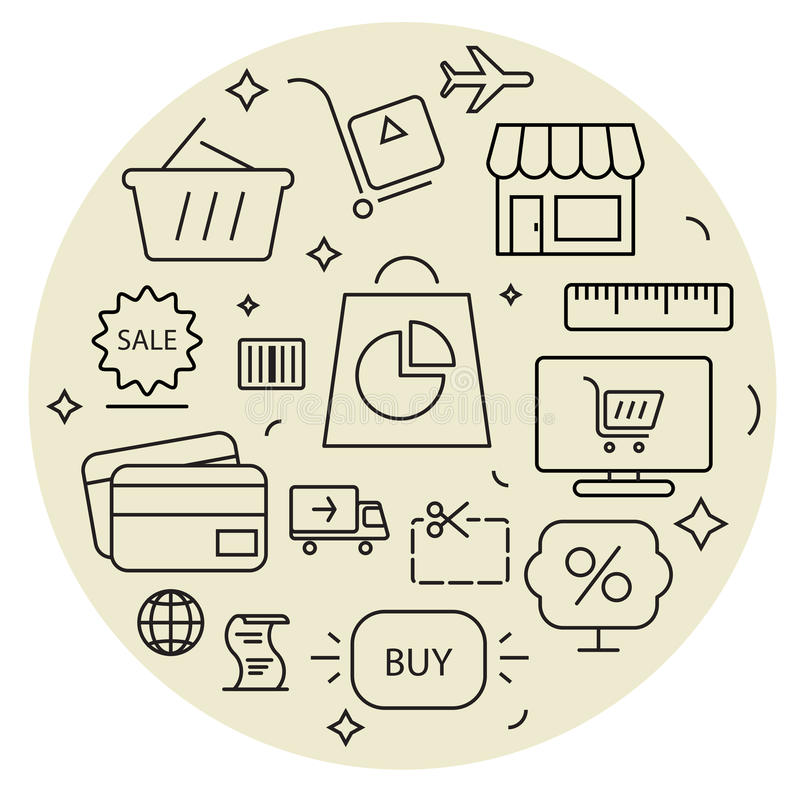 Shopping icons cirle set. Thin line. royalty free illustration
