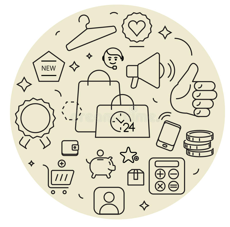 Shopping icons cirle set. Thin line. Simple geometric style stock illustration