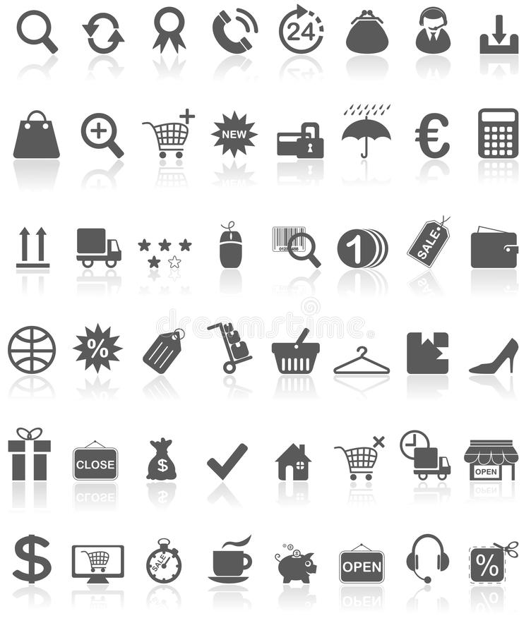 Shopping Icons Collection Black on White royalty free illustration