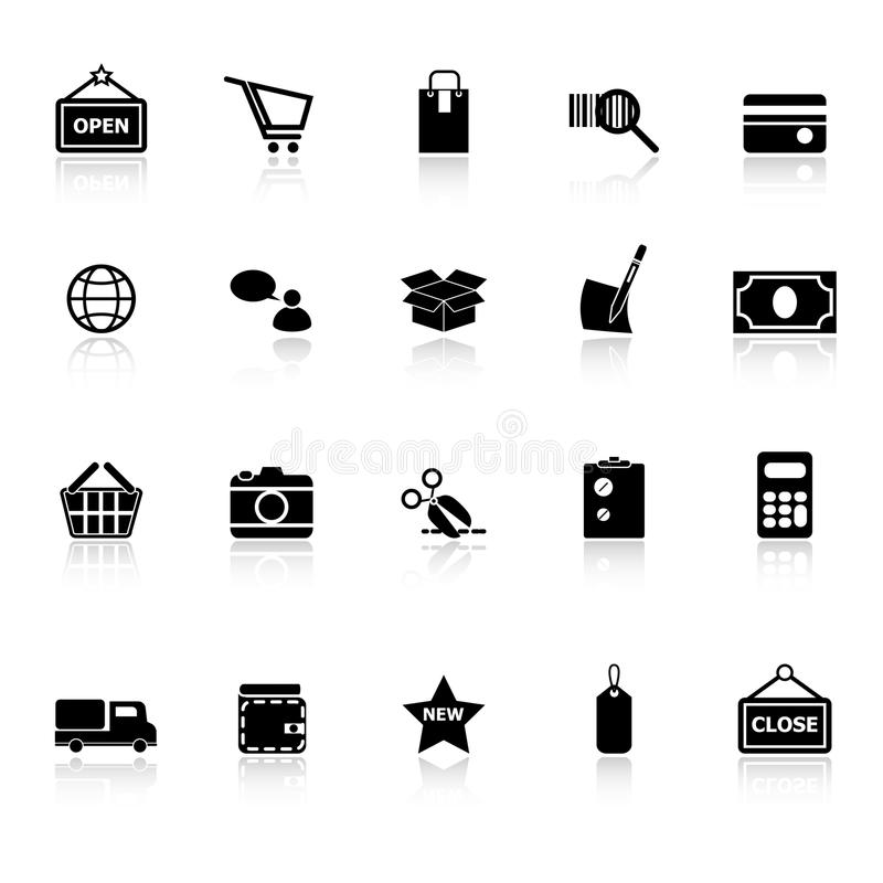 Download Shopping Icons With Reflect On White Background Stock Image - Image: 38033405