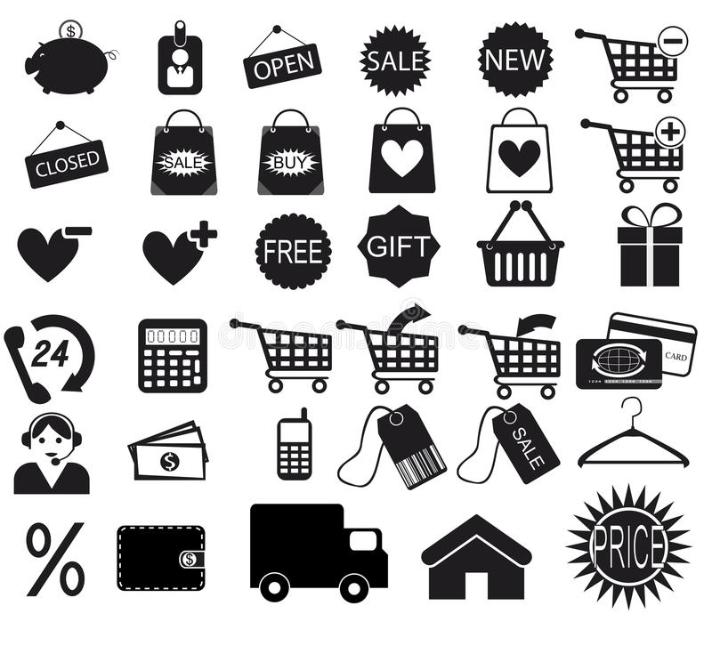 Download Shopping icons set stock vector. Illustration of sign - 28540633
