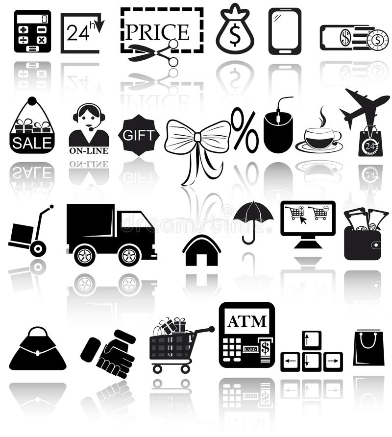 Download Shopping icons set stock vector. Image of black, missile - 28540638