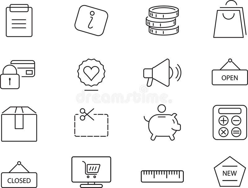 Shopping icons set. Simple design. stock illustration