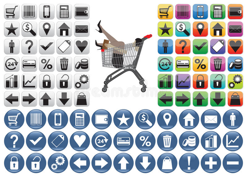 Shopping Icons set. Shopping Icons set and woman in the shopping trolley. The woman can be easily removed (woman is in a separate group). on white background vector illustration