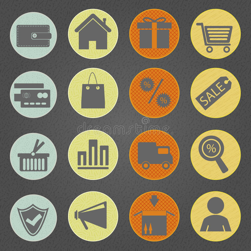 Download Shopping icons Vintage stock vector. Image of 1950s, retro - 26045400