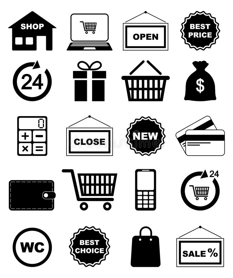 Download Shopping icons stock vector. Image of cart, currency - 32231107