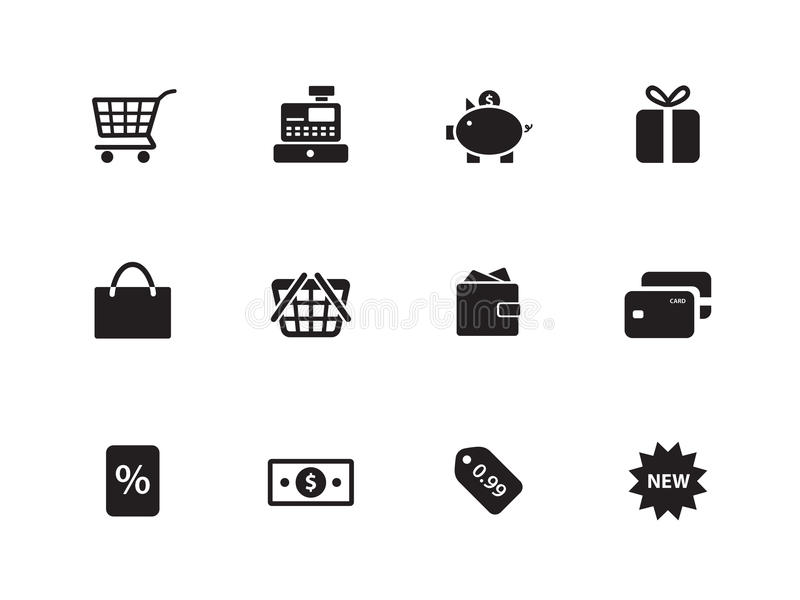 Shopping Icons On White Background. Stock Images