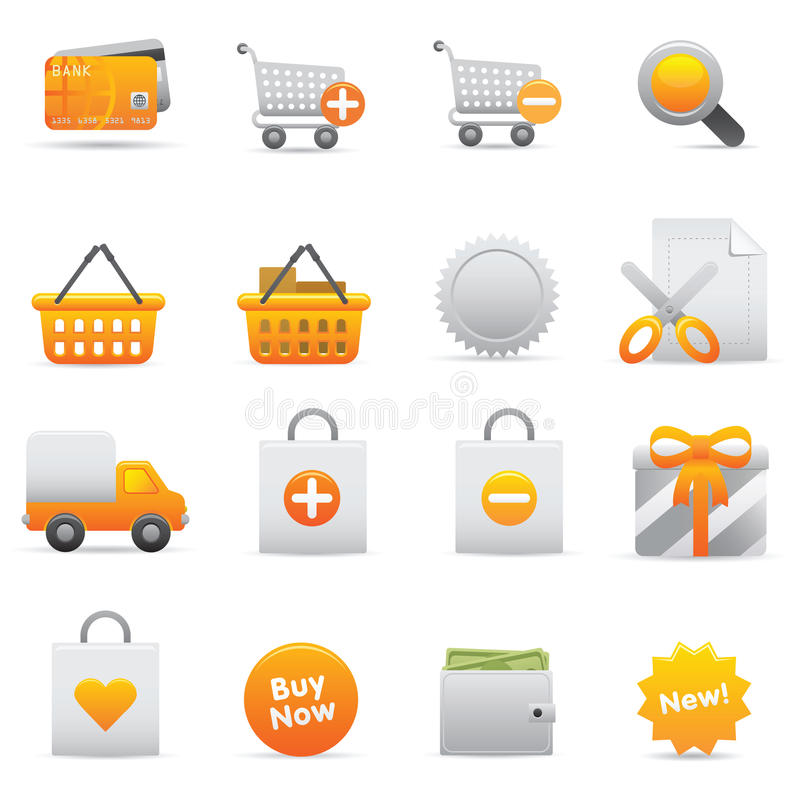 Shopping Icons   Yellow 13 stock illustration