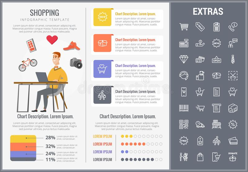 Shopping infographic template, elements and icons. stock illustration