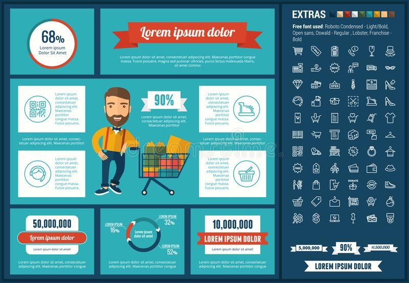 Shopping flat design Infographic Template. Shopping infographic template and elements. The template includes illustrations of hipster men and huge awesome set of royalty free illustration