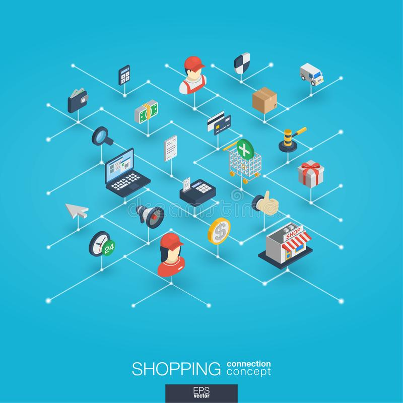 Shopping integrated 3d web icons. Digital network isometric concept. Shopping integrated 3d web icons. Digital network isometric interact concept. Connected royalty free illustration