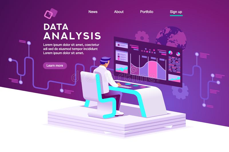 Shopping Interface and Statistics Vector. Interface to tracking website interaction. Software data interacting with infographic, database or desktop graphs stock illustration