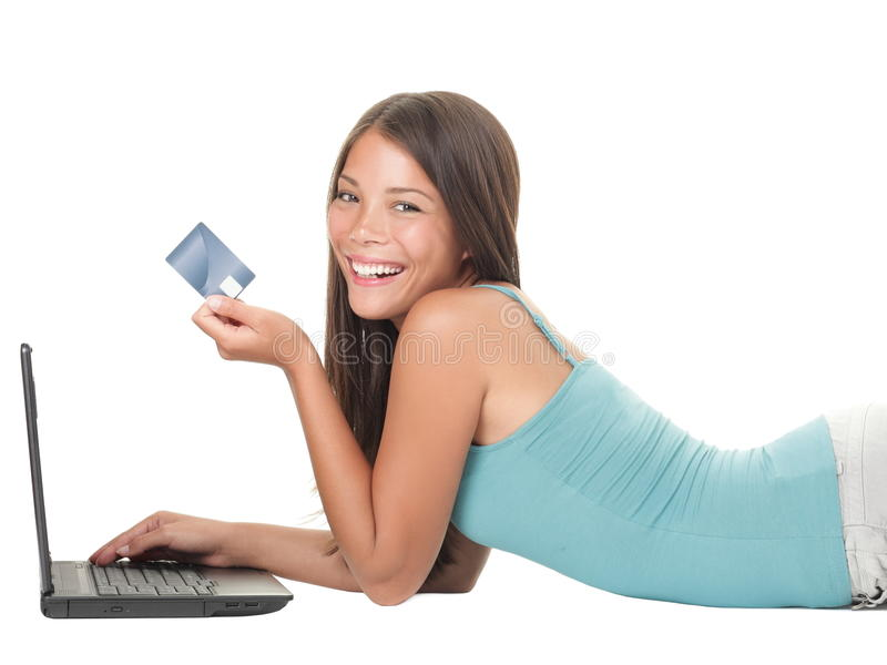 Shopping on internet laptop girl royalty free stock photography