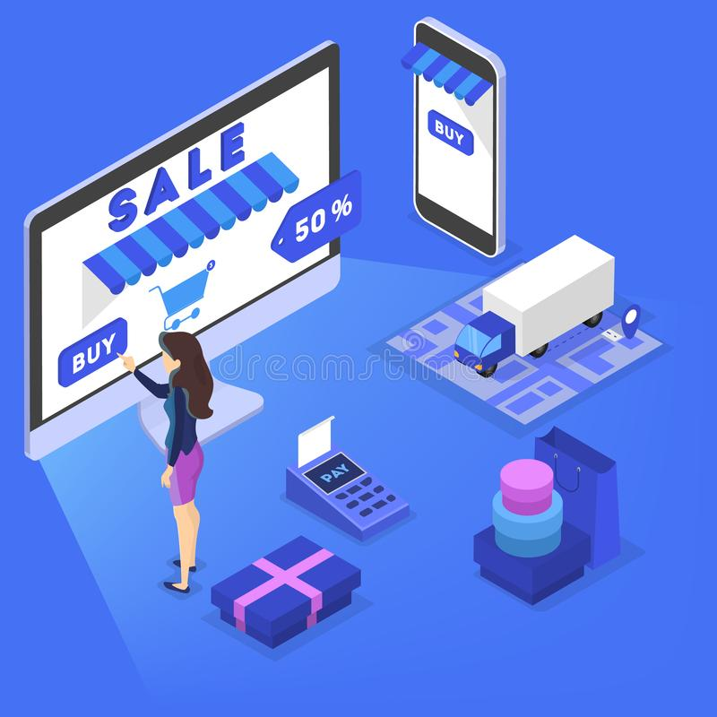 Shopping in internet and make digital money payment. Searching goods in online shop concept. E-commerce concept. Shopping in internet and make digital money vector illustration