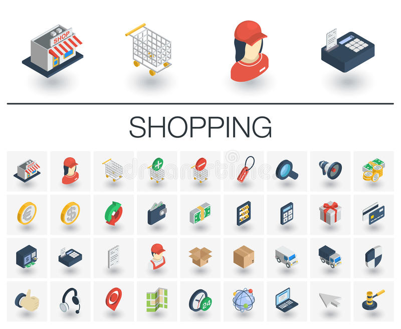Shopping isometric icons. 3d vector royalty free illustration