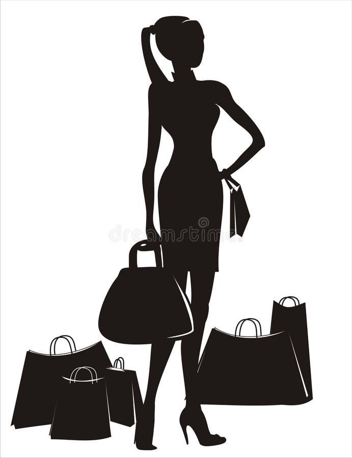 Shopping lady stock illustration