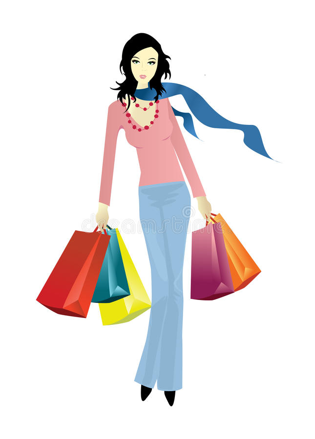 Shopping Lady With Bags, Vector Stock Vector ...