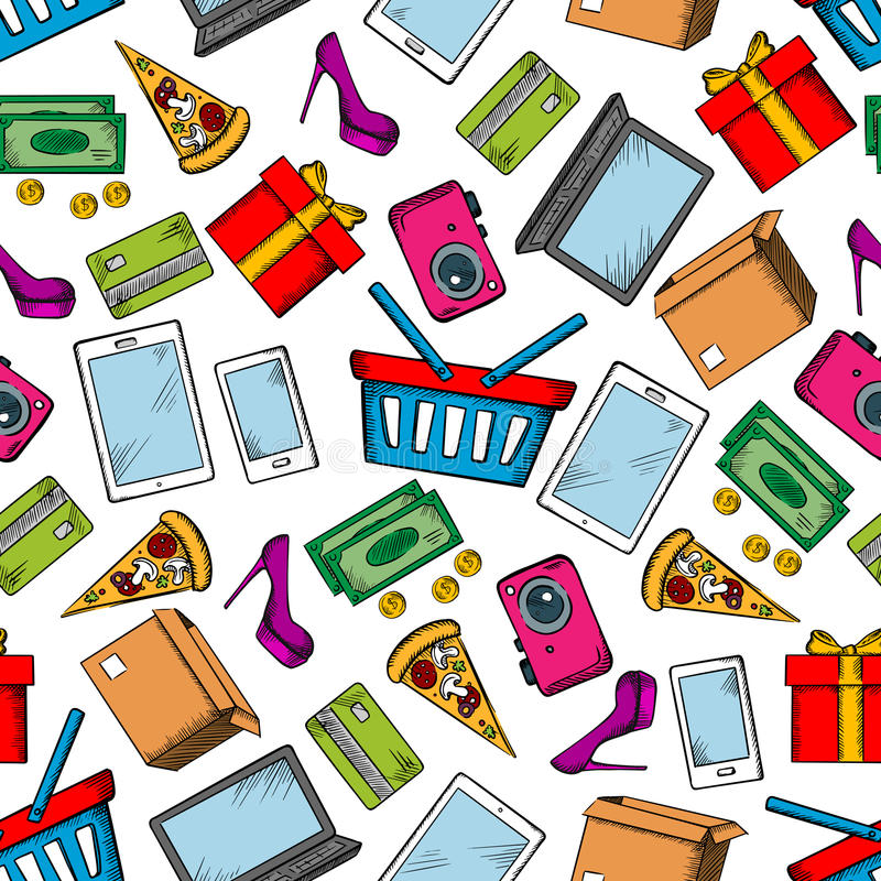 Shopping and leisure seamless background stock illustration