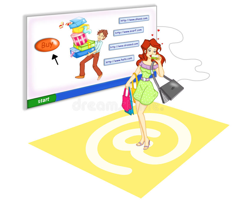 Shopping on line royalty free stock photos