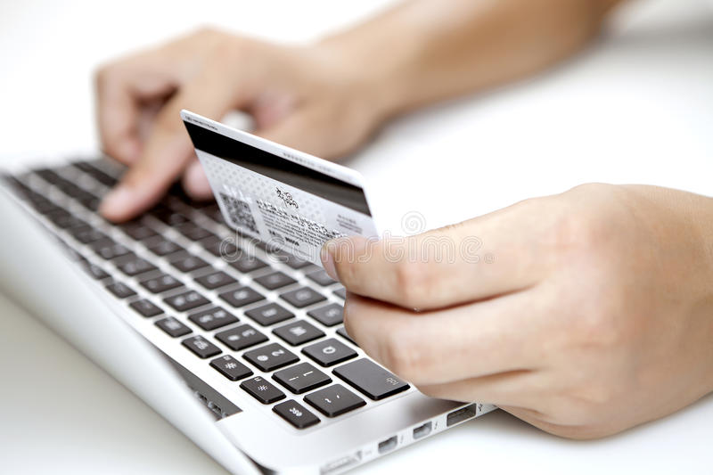 Shopping on-line. Concept of paying online stock photo