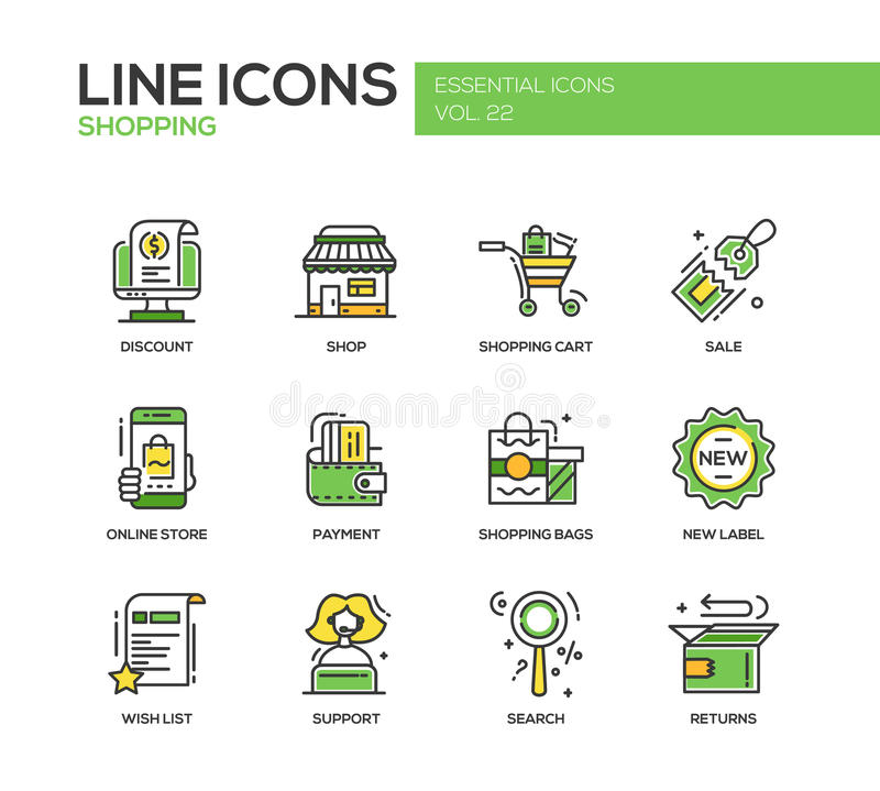 Shopping - line design icons set. Set of modern vector line design icons and pictograms of shopping process elements. Discount, shopping cart, shop, sale, online