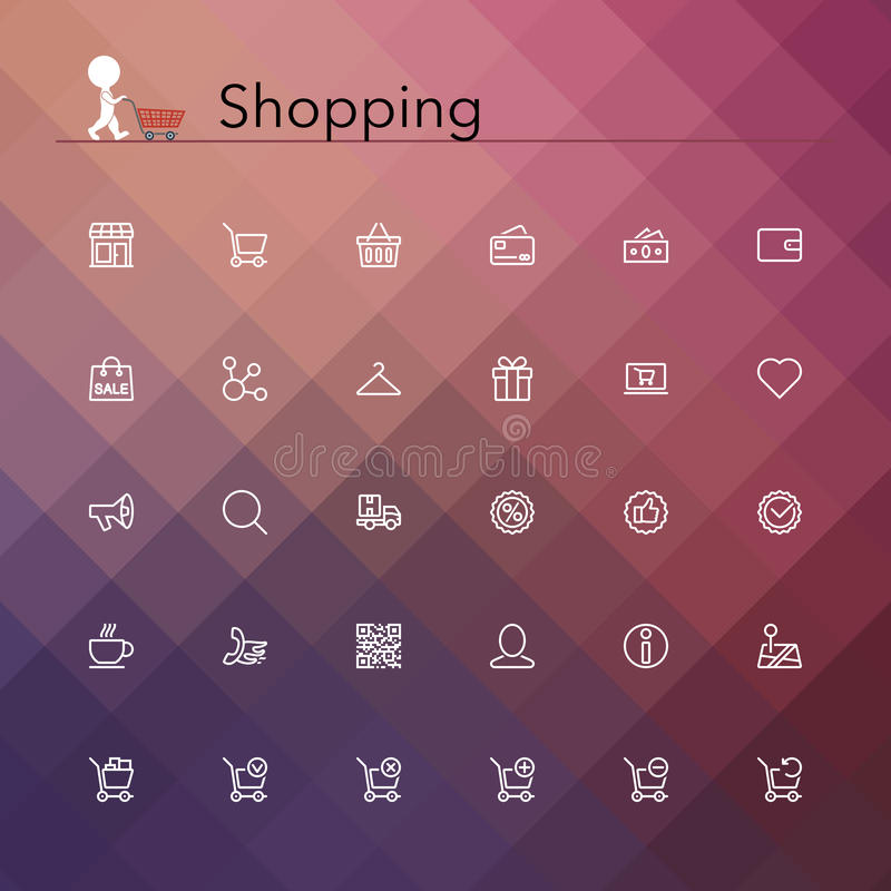 Shopping Line Icons royalty free illustration