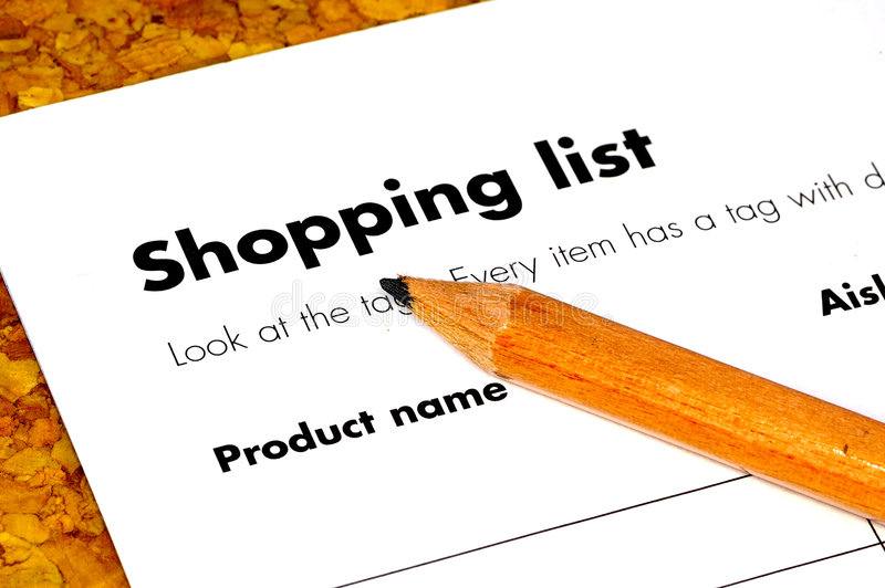 Shopping List. Pencil and a shopping List stock image