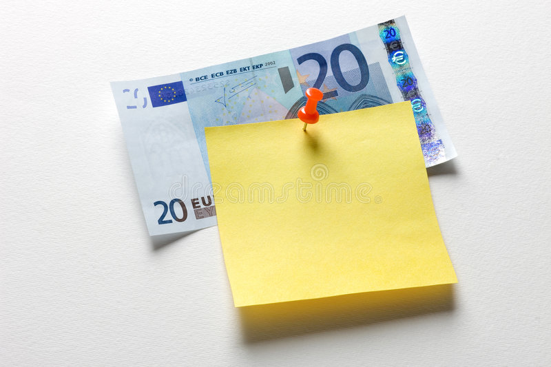 Shopping list. Yellow reminder note with red pin and euro stock photography