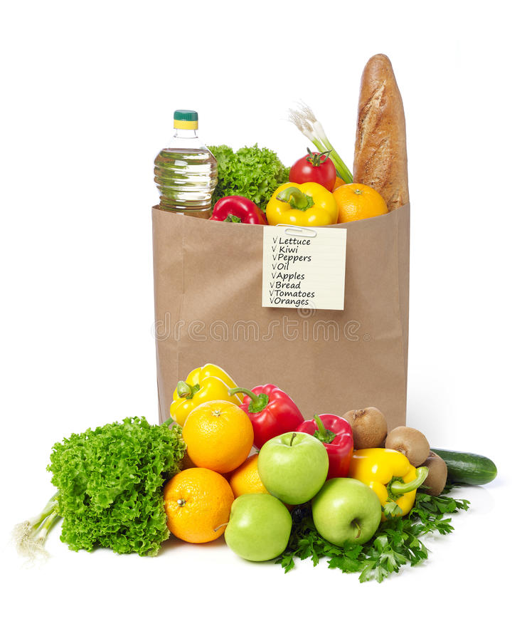 Shopping list on a bag of groceries stock photos