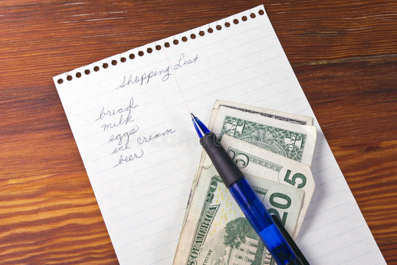 Download Shopping List with Money stock photo. Image of shopping - 21092594