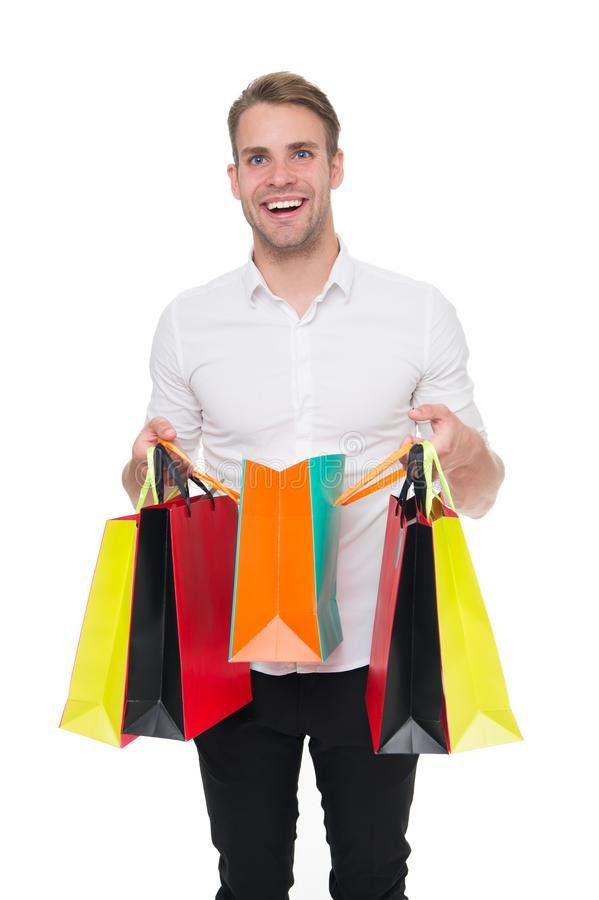 Shopping list. People overspend or buy things they not want, not need because they have not prepared properly. Guy happy. Shopped with list bought exactly what royalty free stock images