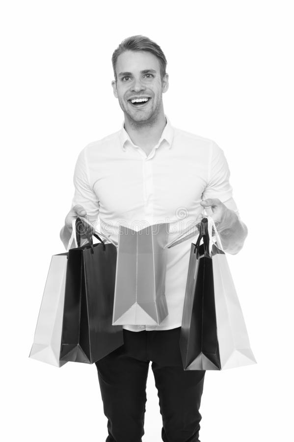 Shopping list. People overspend or buy things they not want, not need because they have not prepared properly. Guy happy. Shopped with list bought exactly what royalty free stock image