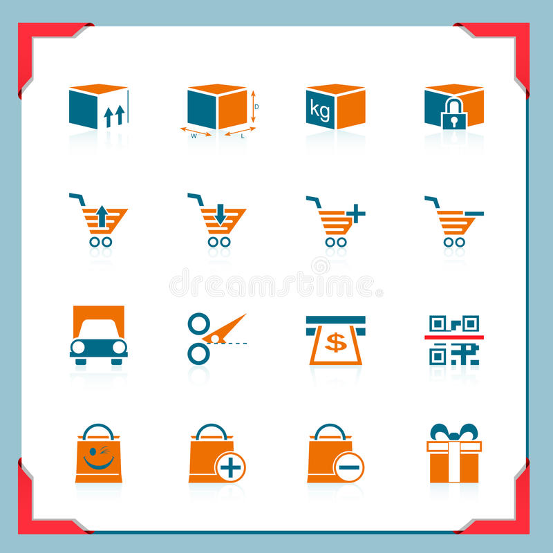 Shopping and logistic icons | In a frame series stock illustration