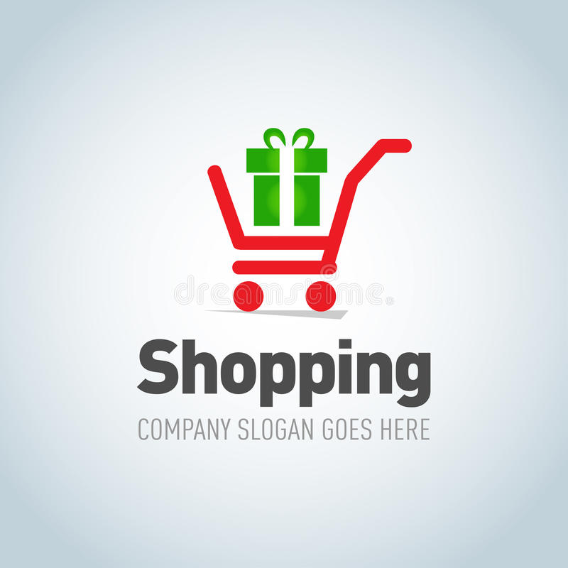 Shopping logotype. Shopping cart with present logo design vector template concept icon. Logotype for online store, shopping store. vector illustration