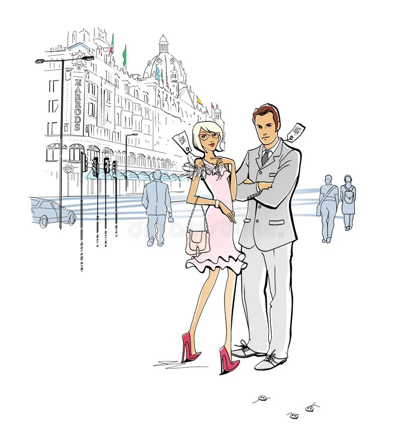 Shopping in London. Week of sales. Discounted clothing. A man and a woman in clothes with markdown tags stand near the department royalty free illustration