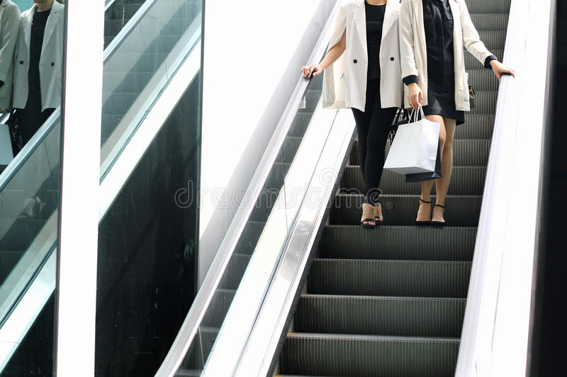 Shopping lover, Women holding shopping bags in the shopping mall stock photos